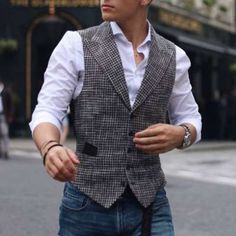 Mens Suit Vest, Mens Suits, Vest Outfits, Fashion Outfits, Fashion Vest, Fall Fashion, Fashion Clothes, Double Breasted Vest, Single Breasted