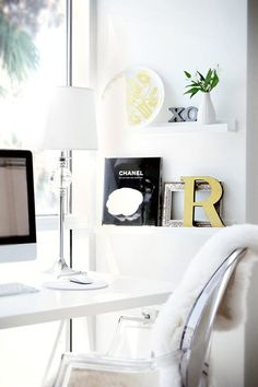 IKEA RIBBA picture ledges in a minimalist white home office Home Office Space, Desk Space, Home Office Design, Home Office Decor, Home Decor, Office Ideas, Office Inspo, Office Spaces, House Design
