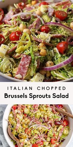 Gorgeous Italian chopped salad recipe loaded with shredded brussels sprouts, chickpeas, veggies, salami, olives, pepperoncini and delicious cheeses. This flavorful and easy Italian chopped brussels sprouts salad is tossed in a light Italian dressing and makes the perfect hearty lunch or fresh dinner! #salad #glutenfree #healthylunch #mealprep #healthydinner