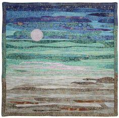 """Moon Reflection in Harmony,  12"""" x 12"""", by Lisa Ellis. SAQA Benefit Auction 2014."""