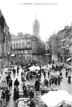 Limoges autrefois : les places | Limoges-Passionnément Limousin, Old Photographs, Photos, Limoges, Vintage Photography, Vintage Postcards, Place, Paris Skyline, Street View
