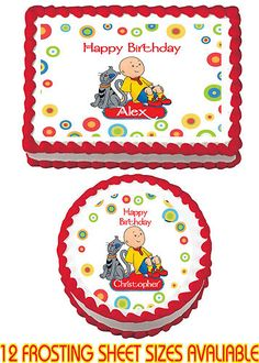 Caillou Edible Birthday Party Cake Image Sticker Cupcake Topper Favor Decoration