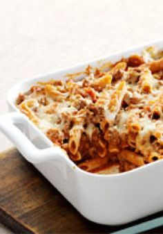 """Easy Italian Pasta Casserole – We call this pasta casserole """"Italian,"""" because it's cheesy with Parmesan and Mozzarella. And """"easy"""" because it takes just 20 minutes to prepare."""