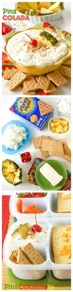 Pina Colada Dip - creamy dip with a tropical twist. Dip fruit or graham crackers in it. Great for a lunch box or after school snack. the-girl-who-ate-everything.com