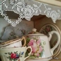 Lace on Shelving / Pretty country kitchen .