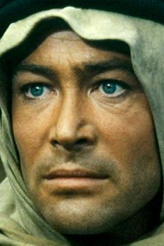Peter O'Toole - as Lawrence. I usually prefer b&w, but his blue eyes gotta be seen!
