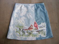 Two cardinals embroidery skirt, A-line skirt, fake suede, bird skirt, lined, pale aqua red, size Medium door LUREaLURE op Etsy