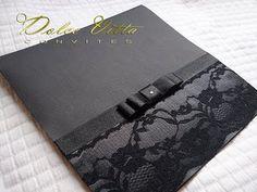Dolce Vitta Convites: Convite de Casamento Preto e Branco com Renda!!! - cod:031