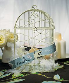 old fashioned birdcage as wishing well $35.98, vintage wedding decorations, wedding table decorations