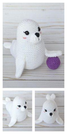 Amigurumi Baby Seal Free Pattern – Amigurumi Free Patterns And Tutorials Animal Knitting Patterns, Stuffed Animal Patterns, Crochet Patterns Amigurumi, Amigurumi Doll, Crochet Dolls, Crochet Crafts, Crochet Projects, Free Crochet, Crochet Giraffe Pattern