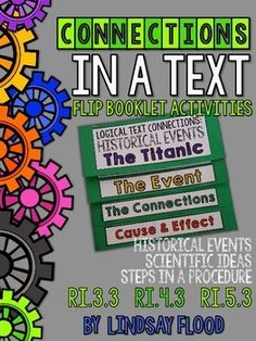 These can be used in conjunction with lessons, or as a review, for Common Core State Standard RI 3. Its important for students to recognize logical connections within a text. This helps their comprehension, as well as helping to build schema as they make connections with other texts about similar topics or ideas.There are 6 total flip-booklet activities.