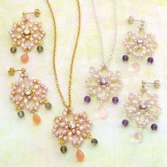 Beaded Snowflake PATTERN necklace and earring set