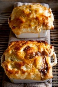 Steakhouse Pot Pie with Mushrooms & Cabernet Wine ( I could even slow cook the filling the day before then place in ramekins and top with puff pastry the next day.)