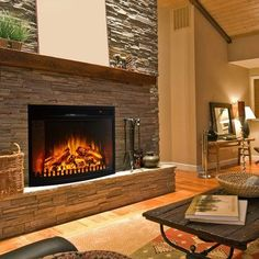 Regal Flame 28 Curved Ventless Heater Electric Fireplace Insert Better than Wood Fireplaces Gas Logs Wall Mounted Log Sets Gas Space Heaters Propane Gel Ethanol Tabletop Fireplaces * Check out the image by visiting the link. (This is an affiliate link) Stacked Stone, Brick Fireplace, House Design, Room Design, Remodel, Fireplace, Living Room Designs, Fireplace Insert Installation, Brick Veneer