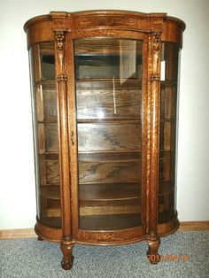 Antique Tiger Oak Bowed Gl Curio China Cabinet C 1900 Ebay Painting Cabinets