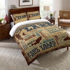 "Channel your inner cowboy with the ""Welcome to the Ranch Duvet Cover and Shams."" This western duvet cover and shams with stylish typography brings the simple country life into your bedroom decor. Single Duvet Cover, Duvet Cover Sets, Cowboy Bedroom, Western Bedrooms, Western Bedding Sets, Horse Bedrooms, Girl Bedrooms, Small Bedrooms, Western Homes"