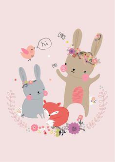 Aless Baylis for Petite Louise nl.  Bunny & friends  #bunny #fox #petitelouise #floral  #bird