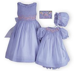 Lilac Delight girls' hand-smocked sister dresses.A Wooden Soldier exclusive.