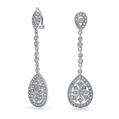 Measure: 2.36 inch L x 0.66 inch W Weight: 10.6 gram Material: Rhodium Plated Brass, Cubic Zirconia