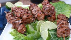Pork kabobs with an Asian marinade - Cityline Asian Grill, Asian Pork, Turkey Feta Burgers, Sundried Tomato Pesto, Pork Skewers, Pork Recipes, Asian Recipes, Recipies, Lentil Salad