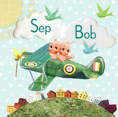 retro Geboortekaartje Sep / Bob - tweeling kaartje met twee kindjes in een vliegtuig - Petit Konijn