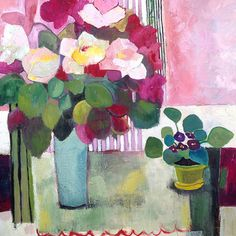 Bouquet + Violets, love the simple leaves and flowers and interesting collage of shapes in background, Annie O'Brien