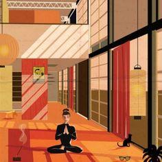 Federico Babina imagines film stars living  inside famous architect-designed houses