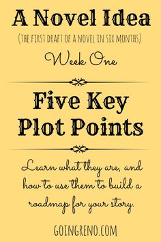 A Novel Idea: Week One. This week, we're talking about the five key plot points and how they come together to give you a road map for your story.