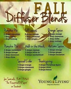 Fall diffuser blends Young Living Essential Oils https://www.facebook.com/Jen4YLEO