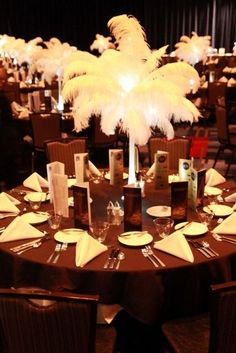 Feather centerpieces for Great Gatsby theme--Old Hollywood Prom Decor, Wedding Decorations, Ball Decorations, Sweet 16, Ostrich Feather Centerpieces, Just In Case, Just For You, Great Gatsby Party, Gatsby Theme