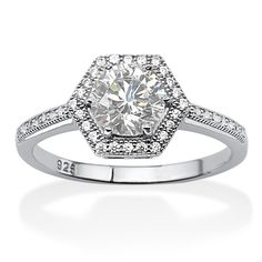 1.62 TCW Round Cubic Zirconia Micro-Pavé Platinum Over Sterling Silver Engagement Anniversary Halo Ring