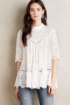 at anthropologie Vittoria Mockneck Top Boho Fashion, Fashion Outfits, Fashion Design, Fashion Skirts, Outfits 2016, Bohemian Tops, Beautiful Blouses, Maternity Tops, Lace Tops