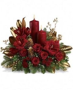 Send Christmas Flowers in Baltimore, MD from Raimondi's Flowers & Fruit Baskets for flower delivery in the Baltimore area. Raimondi's Flowers & Fruit Baskets in Baltimore offers a wide selection of Christmas Flowers. Christmas Flower Arrangements, Christmas Flowers, Christmas Table Decorations, Noel Christmas, Christmas Candles, Christmas Projects, Floral Arrangements, Christmas Wreaths, Christmas Ornaments