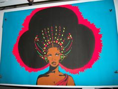 "blacklight posters | Vintage Original Blacklight Poster ""Afro Queen"""