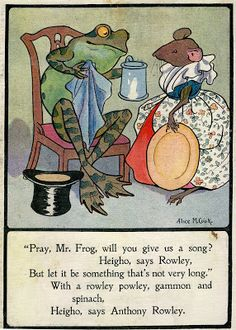 illustration from 'A frog he would a wooing go' - posted by Danielle Frick on ragtales blogspot (June 14, 2011)