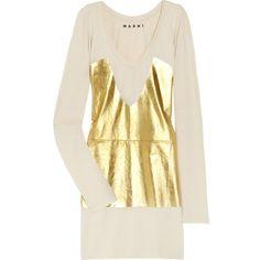 Marni Metallic-print cotton-jersey tunic ❤ liked on Polyvore