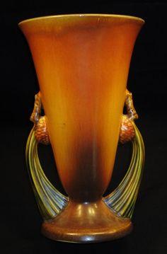 Large vintage Roseville vase in Brown Pinecone NR