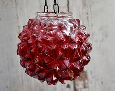 Red pineapple vintage glass repurposed to candle holder