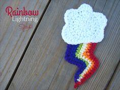 Rainbow Lightning - Free Applique Crochet Pattern on Stitch11