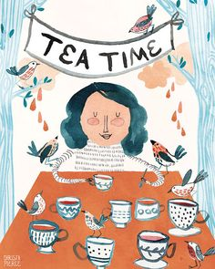 Tea Time with the Birds  Vertical Print by MissWhimsyJane on Etsy