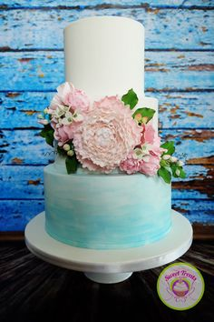 Watercolor Wedding Cake on Cake Central