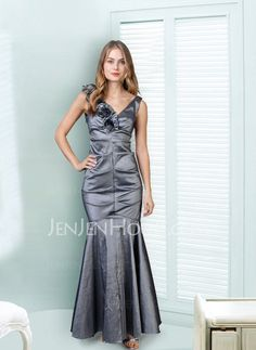 Abendkleider - $112.99 - Blendend Meerjungfrau-Linie V-Ausschnitt Bodenlang Taft Abendkleider mit Rüschen (017002546) http://jenjenhouse.com/de/pinterest-g2546