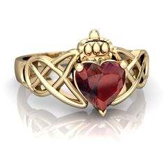 Garnet Claddagh Celtic Knot 14K Yellow Gold ring R2367 - front view