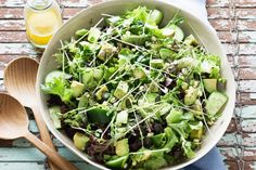 Easy Green Superfood Salad #recipe!   4 cups mixed green salad leaves, tightly packed, 2 cups sprouts such as broccoli, sunflower, snowpea or alfalfa, 2 medium cucumbers, chopped,1 avocado, cubed,1 tbs chia seeds, 1 tbs sunflower seeds, 1 tbs pumpkin seeds, fresh cut parsley to serve (with an apple-cider vinaigrette) by Taste |  Sambazon