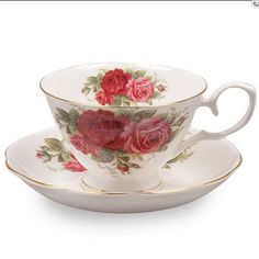 Country Rose Bone China Tea Cup and Saucer