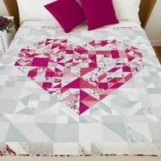 Qube Pieced Heart Quilt Pattern can be created using GO! Strip Quilt Patterns, Heart Quilt Pattern, Strip Quilts, Pattern Blocks, Quilt Blocks, Quilting Patterns, Quilting Ideas, Patchwork Patterns, Mini Quilts