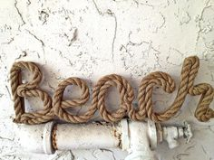 Beach sign wood sign covered in salvaged rope-coastal decor beach chic