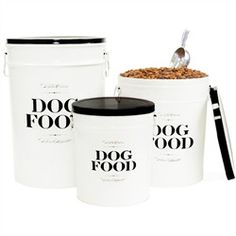 Dog Food Storage Canister- Bon Chien-Dog Food Storage Canister- Bon Chien by Harry Barker Even dog food looks beautiful in our French bistro-inspired dog food storage bins. Our Bon Chien Food Storage Canister is made from recycled steel. Food Canisters, Storage Canisters, Kitchenware, Pet Food Storage, Food Storage Containers, Storage Bins, Storage Ideas, Dry Dog Food, Cat Food