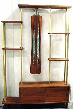 Tiki inspired lamp shelf divider.