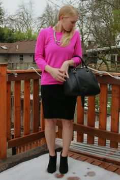Current Habits   A Bright Pink Valentine   #OOTD   J.Crew Tippi Sweater   American Apparel Skirt   H&M Bag   Target Booties